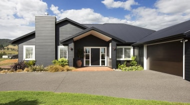 Fowler Homes Tauranga.Gold reserve winner and National finalist building, cottage, elevation, estate, facade, home, house, neighbourhood, property, real estate, residential area, siding, suburb, window, gray