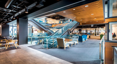 Hays Commercial Office Property Award - NZME Central, interior design, lobby, restaurant