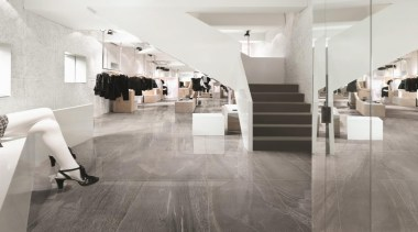 Galena floor tiles commercial - Mineral D Galena exhibition, floor, flooring, interior design, laminate flooring, lobby, tile, wood flooring, gray