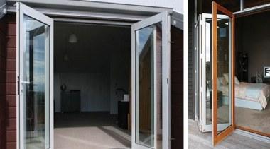 Bi-folding doors open up the full potential of door, glass, window, black, gray
