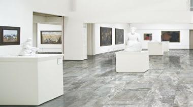 Frost thrill tile la fabbrica ceramiche ceramic room exhibition, floor, flooring, furniture, interior design, laminate flooring, product design, table, tile, wood flooring, white