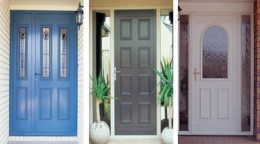 FIRST® Classic entrance doors bring together attractive mouldings blue, door, facade, gate, home, house, real estate, screen door, structure, window, gray