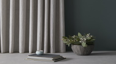 Tranquil, serene and inherently restful, this soft sheer curtain, floor, flowerpot, interior design, structure, window covering, window treatment, black, gray