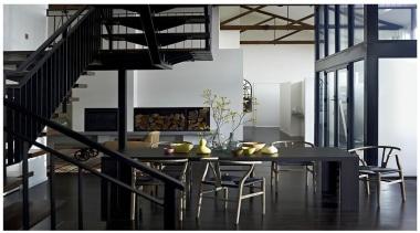 Featuring: Laminex Designed Timber Veneers Como Rigato dining room, furniture, interior design, table, black