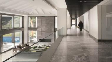 Galena hallway tiles - Mineral D Galena Range architecture, ceiling, daylighting, floor, flooring, glass, interior design, lobby, gray