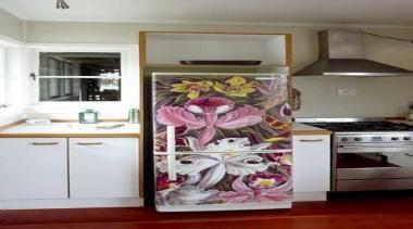 Kitchen fridge - Kitchen fridge with the twist home appliance, interior design, kitchen, major appliance, refrigerator, room, gray, white