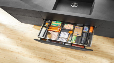 AMBIA-LINE inner dividing system – organization at its floor, flooring, furniture, product, product design, shelf, shelving, table, wood, orange