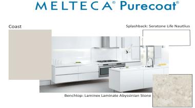 New Zealand made Melteca Purecoat surfaces utilise cutting-edge bathroom accessory, bathroom sink, furniture, kitchen, product, product design, white