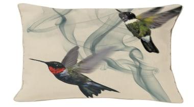 A special edition of the Hummingbird cushion.Jewel-like iridescent beak, bird, fauna, feather, hummingbird, white