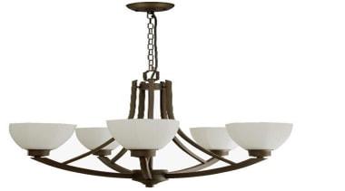 FeaturesThe Bedford is a bold 5 light pendant ceiling fixture, chandelier, light fixture, lighting, product design, white