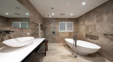 Winner Bathroom of the Year 2013 Hunter Region architecture, bathroom, ceiling, estate, floor, flooring, interior design, property, real estate, room, tile, wall, gray
