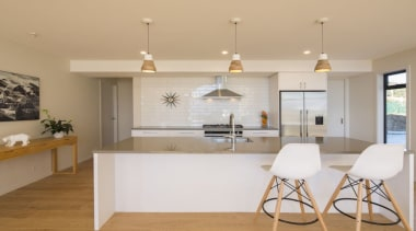 A large kitchen and scullery with Eurostone benchtop, countertop, interior design, kitchen, real estate, room, gray, orange