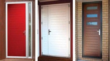 FIRST® Aquila entrance doors offer an innovative door door, window, window blind, window covering, window treatment, wood, wood stain, white, red