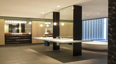 Winner Bathroom Design of the Year 2013 New ceiling, floor, flooring, interior design, orange, black