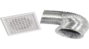 FeaturesKit Includes:1x Egg-crate Grill	3m Aluminium ducting	Duct clips x product, product design, silver, white