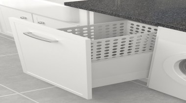 Tanova Simplex drawer frame insert laundry system options angle, bathroom accessory, drawer, floor, furniture, laundry, plumbing fixture, product, product design, sink, tap, tile, toilet seat, white