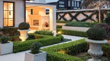 Mellons Bay 4 - backyard   courtyard   backyard, courtyard, estate, garden, grass, home, landscaping, plant, property, real estate, shrub, walkway, yard, gray
