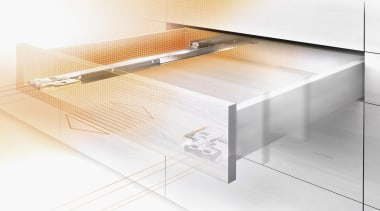 MOVENTO offers a feather-light glide for wooden drawers angle, furniture, glass, table, white