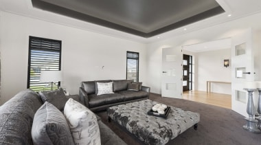 The luxuriousness of this home is evident the bedroom, ceiling, interior design, living room, property, real estate, room, gray