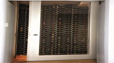 The Echelon modular wine bottle storage system nests door, window, black, white