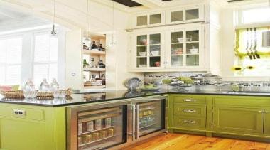 White Fridge - Fridge - cabinetry   countertop cabinetry, countertop, cuisine classique, home, interior design, kitchen, room, window, white