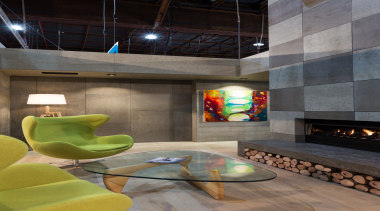 IMG_6173 - architecture | ceiling | hearth | architecture, ceiling, hearth, interior design, living room, lobby, loft, table, gray, black
