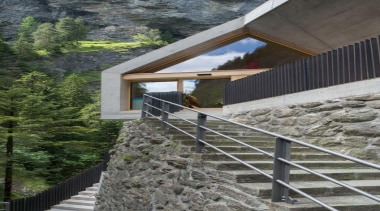 The visitor centre located at the top of architecture, cottage, facade, handrail, house, stairs, gray, black