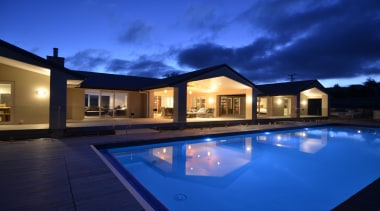 Greers ShowhomeFor more information, please visit www.gjgardner.co.nz architecture, estate, home, house, lighting, property, real estate, reflection, residential area, resort, sky, swimming pool, villa, window, blue
