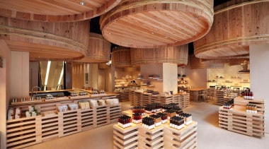 The Kayanoya Shop is a reproduction of a bakery, interior design, wood, brown, orange