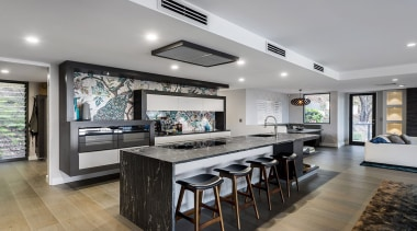 Finalist: TIDA International Kitchen of the YearWinner: HIA countertop, interior design, kitchen, living room, real estate, gray