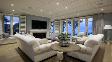 Living area - Living area - ceiling   ceiling, home, interior design, living room, penthouse apartment, property, real estate, room, gray