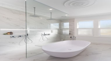Winner: 2017 TIDA New Zealand Bathroom of the angle, architecture, bathroom, bathroom sink, bidet, ceramic, floor, house, interior design, plumbing fixture, product design, room, sink, tap, tile, gray