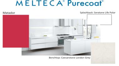 New Zealand made Melteca Purecoat surfaces utilise cutting-edge furniture, kitchen, product, product design, white