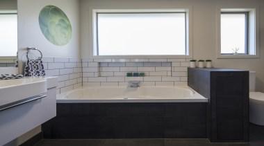 Highly Commended –Julie-Ann Ross, Design Arc - 2016 bathroom, floor, interior design, plumbing fixture, room, sink, gray, black