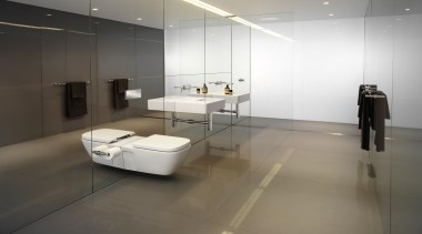 Creating space with the use of mirrors and architecture, bathroom, floor, flooring, glass, interior design, product design, sink, tap, tile, gray, white