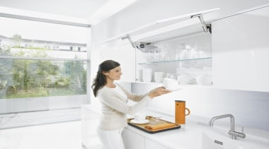Up & Over Lift System - AVENTOS HS bathroom, interior design, plumbing fixture, sink, tap, white