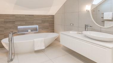 Winner – Natalie Du Bois, Du Bois Design bathroom, bathroom sink, bidet, floor, interior design, plumbing fixture, property, room, tap, tile, toilet seat, gray