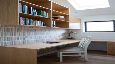 Study Nook - bookcase | cabinetry | desk bookcase, cabinetry, desk, furniture, interior design, office, shelf, shelving, table, gray, brown