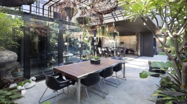 arc seven.1 - Highly Commended – 2016 TIDA backyard, courtyard, house, interior design, outdoor structure, patio, property, real estate, gray, black