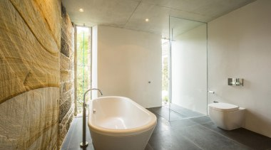 Winner Bathroom of the Year 2013 New South architecture, bathroom, ceiling, daylighting, floor, interior design, plumbing fixture, property, real estate, room, tile, wall, gray, brown