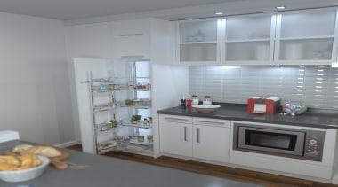 Giamo Short Chef Larder with Solid Base Shelves countertop, home appliance, interior design, kitchen, refrigerator, gray