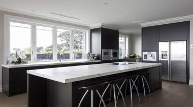 8 kitchen after - Kitchen After - countertop countertop, cuisine classique, interior design, kitchen, real estate, room, window, gray, black