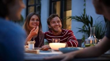 Philips Hue 01 - Philips Hue 01 - fun, girl, restaurant, smile, black, blue