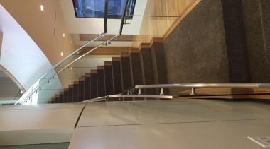 Glasshape - architecture   daylighting   floor   architecture, daylighting, floor, flooring, glass, handrail, interior design, stairs, wood, brown