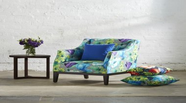 Our new floral print range, Tuileries,draws inspiration from chair, couch, furniture, interior design, product design, purple, table, white