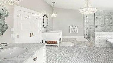 For more information, please visit Casa Italiana bathroom, ceiling, floor, flooring, home, interior design, plumbing fixture, room, tile, wall, white