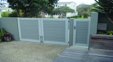 Louvretec gate in a metallic look for a fence, gate, home fencing, outdoor structure, gray