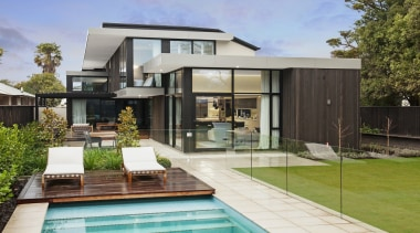 O'Neil Architecture: Winner – 2017 TIDA New Zealand architecture, backyard, elevation, estate, facade, home, house, property, real estate, residential area, swimming pool, villa