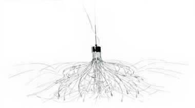 FeaturesA mix of randomly twisted wires interlaced with black and white, light fixture, lighting, line, monochrome photography, product design, white