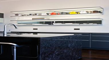 New Zealand Renovation Kitchen Designer of the Year countertop, floor, furniture, home appliance, kitchen, room, shelf, shelving, white, black